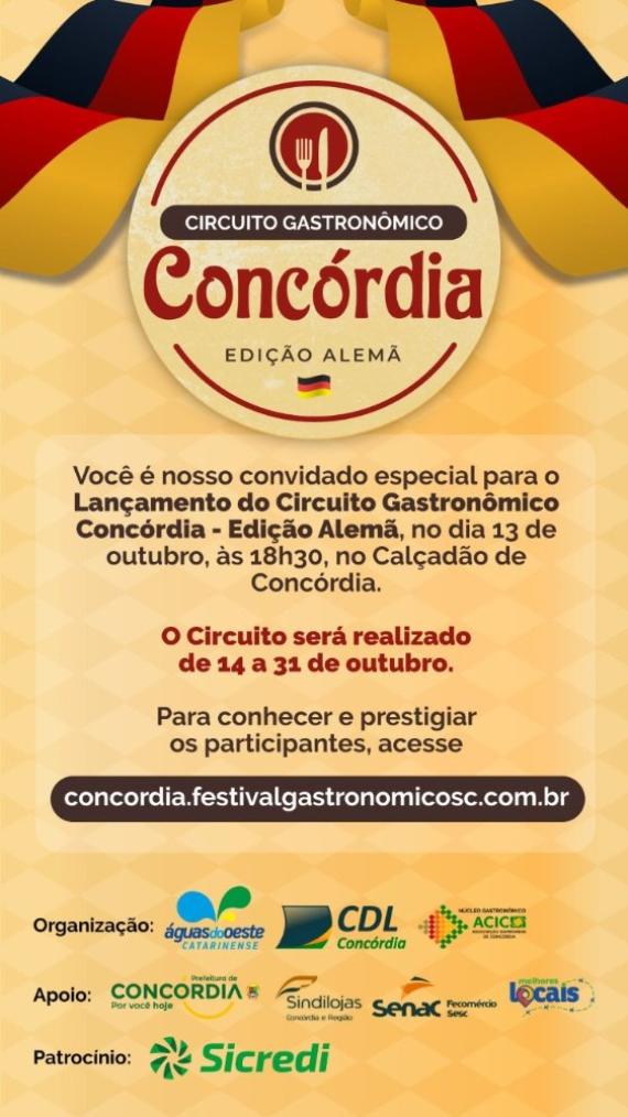 Secretaria da Cultura de Concórdia confirma participação no Circuito Gastronômico