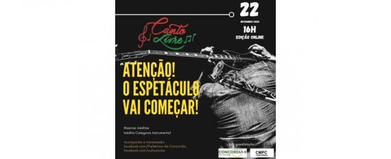 Neste domingo será transmitida a live do Festival Canto Livre