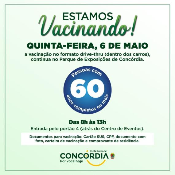 Vacinação para pessoas com 60 anos ou mais acontece nesta quinta-feira em Concórdia