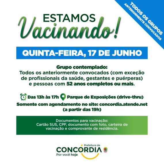 Saúde de Concórdia segue vacinando pessoas com 52 anos ou mais nesta quinta-feira, contra a Covid-19